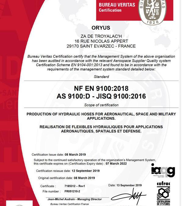 En 2019 ORYUS a obtenu les certifications ISO 9001 et EN 9100