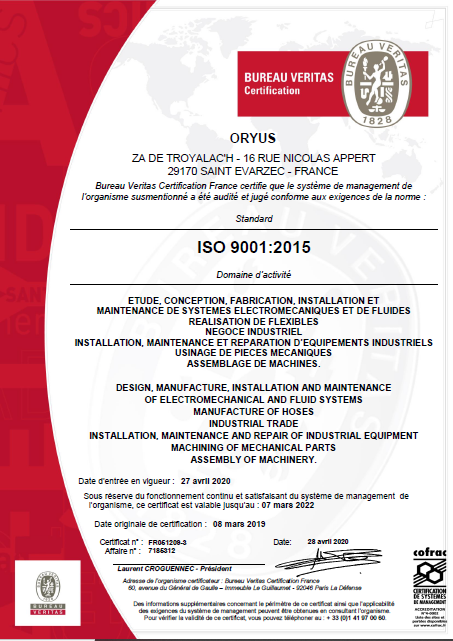 ORYUS Certifiée pour l'ensemble de ses activités